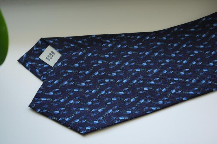 Crayfish Printed Silk Tie - Navy Blue/Light Blue