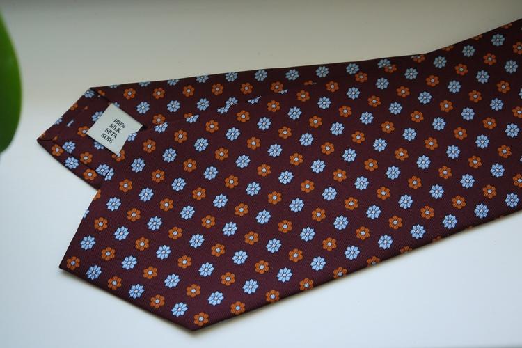 Floral Printed Silk Tie - Burgundy/Light Blue/Orange