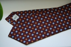 Floral Printed Silk Tie - Burgundy/Light Blue/Orange