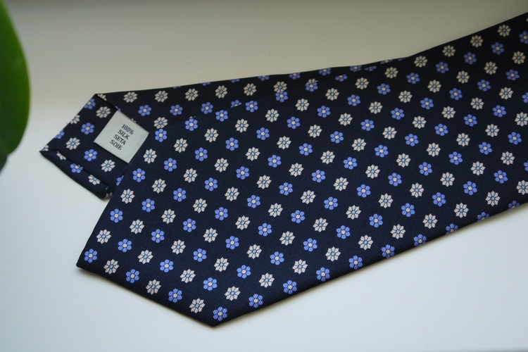 Floral Printed Silk Tie - Navy Blue/Light Blue/White