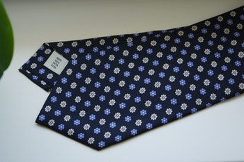 Floral Printed Silk Tie - Navy Blue/Light Blue/White