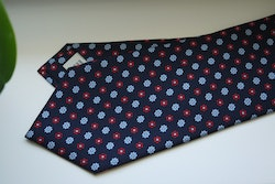 Floral Printed Silk Tie - Navy Blue/Light Blue/Burgundy