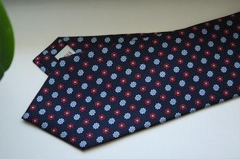 Floral Printed Silk Tie - Navy Blue/Light Blue/Burgundy