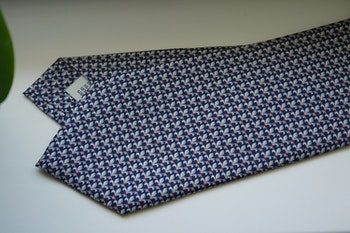 French Lily Printed Silk Tie - Navy Blue/Grey/Burgundy