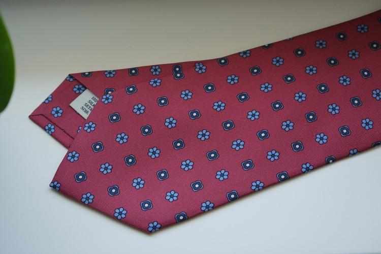 Floral Printed Silk Tie - Burgundy/Navy Blue/Light Blue