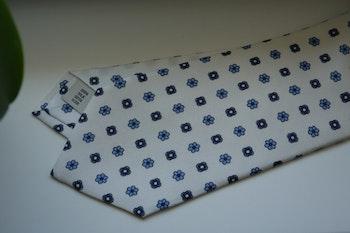 Floral Printed Silk Tie - White/Navy Blue/Light Blue