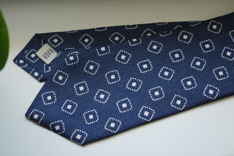 Medallion Printed Silk Tie - Navy Blue/White