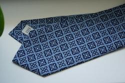 Medallion Printed Silk Tie - Light Blue/Navy Blue