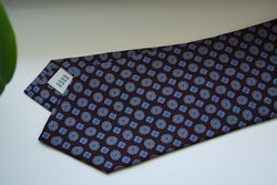 Medallion Printed Silk Tie - Burgundy/Light Blue/Grey