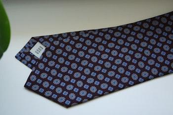 Medallion Printed Silk Tie - Burgundy/Light Blue/Grey