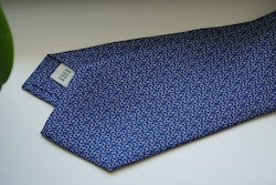 Micro Printed Silk Tie - Mid Navy Blue/White