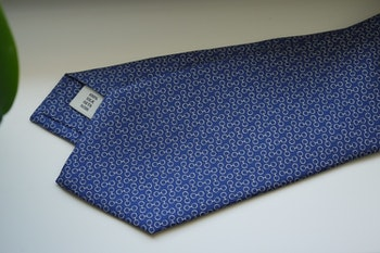 Micro Printed Silk Tie - Mid Navy Blue/White