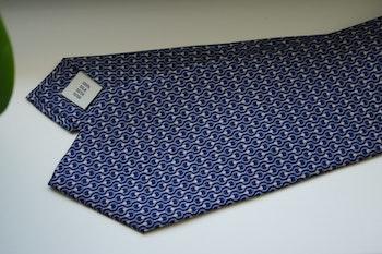 Micro Printed Silk Tie - Navy Blue/Light Blue/White