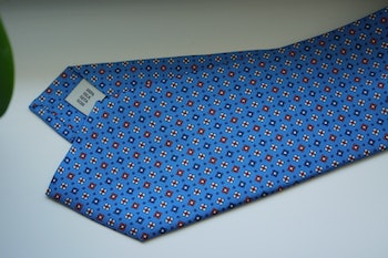Small Floral Printed Silk Tie - Light Blue/Navy Blue/Red