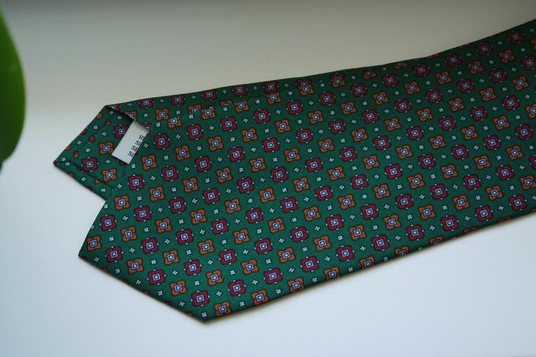 Floral Printed Silk Tie - Green/Burgundy/Orange