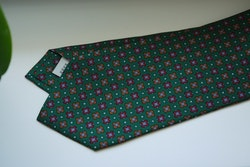 Floral Printed Silk Tie - Green/Burgundy/Orange