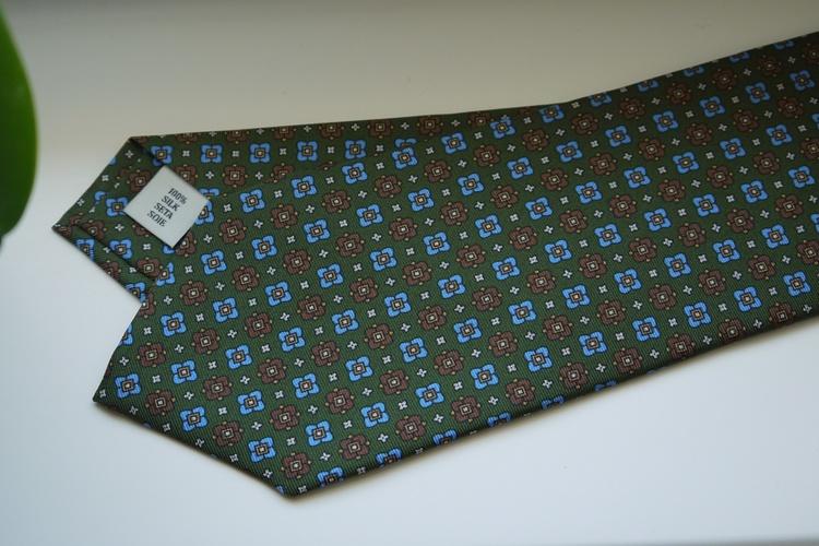 Floral Printed Silk Tie - Olive Green/Brown/Light Blue