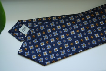 Floral Printed Silk Tie - Navy Blue/Light Blue/Yellow/Red