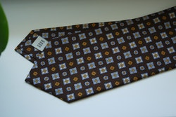 Floral Printed Silk Tie - Brown/Light Blue/Yellow/Red