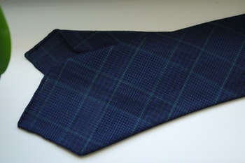 Large Check Light Wool Tie - Untipped - Navy Blue/Green