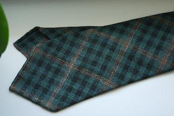 Check Light Wool Tie - Untipped - Green/Beige