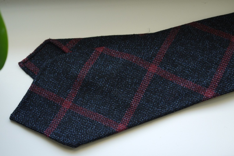 Large Check Light Wool Tie - Untipped - Navy Blue/Pink