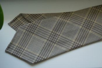Glencheck Light Wool Tie - Untipped - Beige/Brown