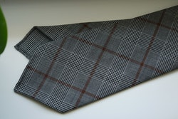 Glencheck Light Wool Tie - Untipped - Grey/Brown