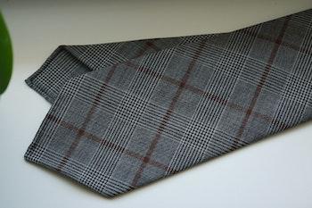 Glencheck Light Wool Tie - Untipped - Grey/Brown