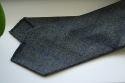 Large Check Light Wool Tie - Untipped - Grey/Navy Blue