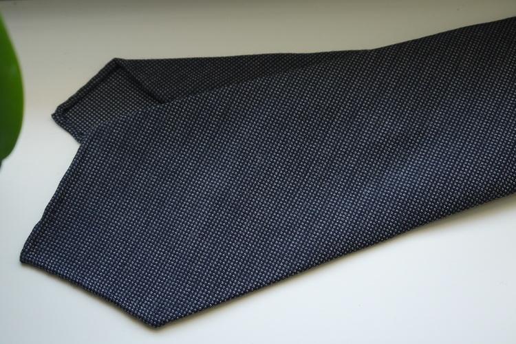 Micro Light Wool Tie - Untipped - Dark Grey/Navy Blue