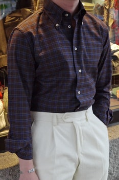 Check Flannel Shirt - Button Down - Brown/Navy Blue/Grey