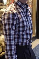 Check Thin Flannel Shirt - Button Down - Navy Blue/White/Orange