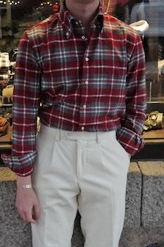 Check Chunky Flannel Shirt - Button Down - Burgundy/Grey/White