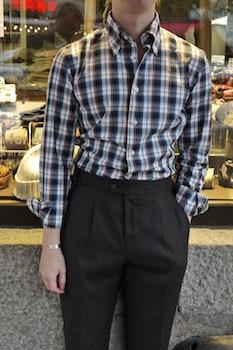 Check Thin Flannel Shirt - Button Down - Navy Blue/White/Orange/Green
