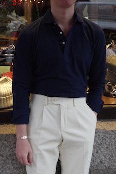 Solid Long Sleeve Polo Shirt - Cutaway - Navy Blue
