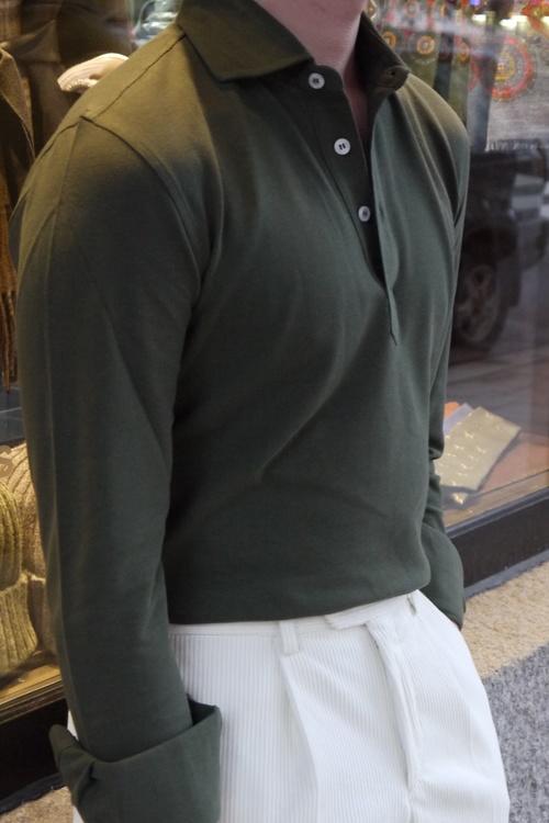 Solid Long Sleeve Polo Shirt - Cutaway - Olive Green