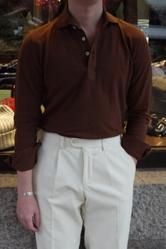 Solid Long Sleeve Polo Shirt - Cutaway - Mid Brown