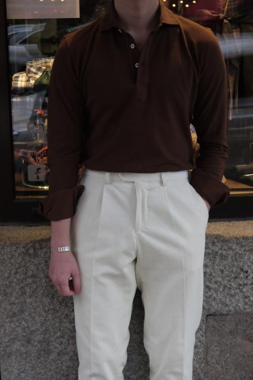 Solid Long Sleeve Polo Shirt - Cutaway - Mid Brown