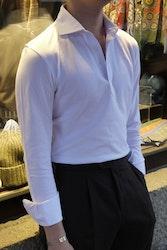 Solid Long Sleeve Polo Shirt - Cutaway - White