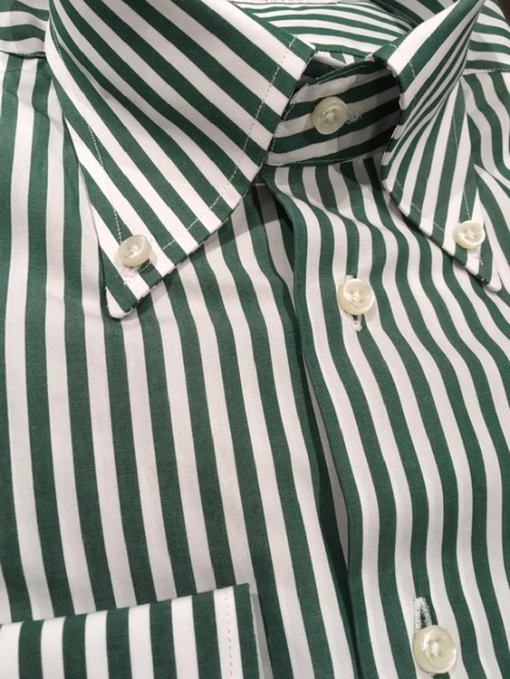 Bengal Stripe Poplin Shirt - Button Down - Green/White