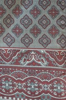 Medallion Wool Scarf - Grey/Rust/Burgundy