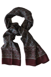 Medallion Wool Scarf - Grey/Rust/Burgundy