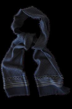 Oval Wool Scarf - Mid Blue/Grey