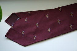 Duck Silk Tie - Untipped - Burgundy/Yellow/Light Blue
