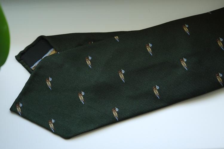 Duck Silk Tie - Untipped - Green/Yellow/White
