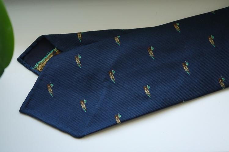 Duck Silk Tie - Untipped - Navy Blue/Yellow/Green