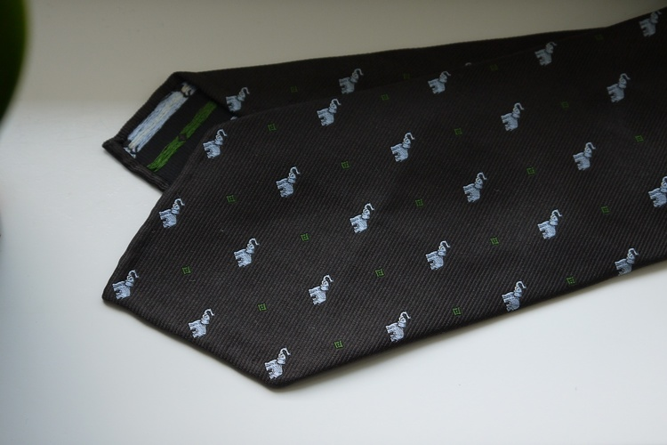 Elephant Silk Tie - Untipped - Brown/White/Green