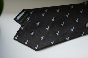 Elephant Silk Tie - Untipped - Brown/White/Green