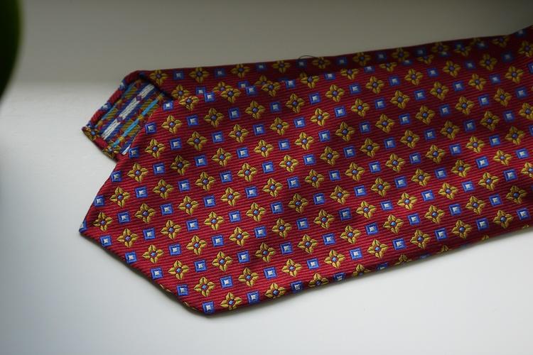 Floral Silk Tie - Untipped - Burgundy/Yellow/Light Blue